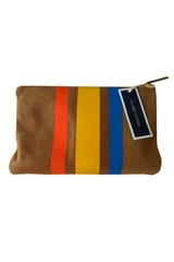 Claire Vivier Three Stripe Clutch in Orange, Yellow and Blue