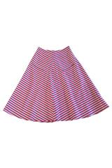 Conway Skirt with Pocket Slit in Red and Blue Striped Silk