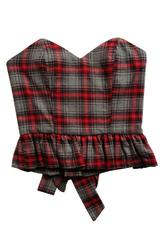 Corset Top in Red and Grey Tartan Plaid