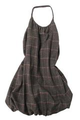 Mary Alice Bubble Dress in Brown Tweed with Red/White Check