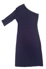 One Sleeved Zoe Dress in Navy
