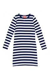Zoe Dress in Navy and White Stripe