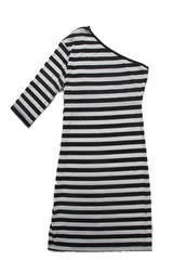 One Sleeved Zoe Dress in Black and White Stripe